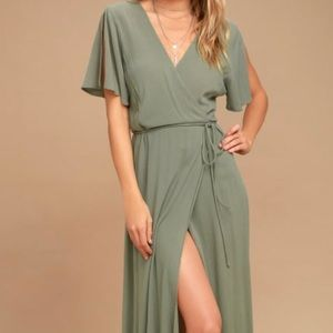 Much obliged washed olive green maxi dress